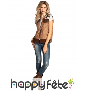 Gilet de cowgirl marron pour adulte