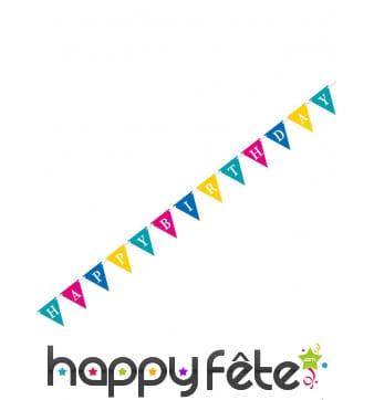 Guirlande de fanions colorés Happy birthday 274cm