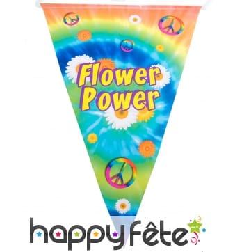 Guirlande de fanions flower power, 5m