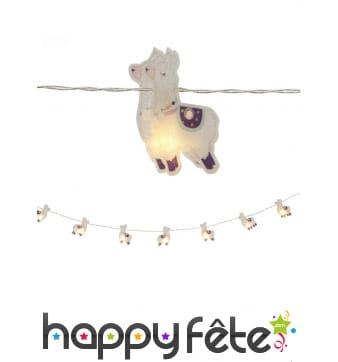 Guirlande de petits lamas lumineux, 165 cm