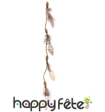 Guirlande de plumes avec perles en bois, 116cm