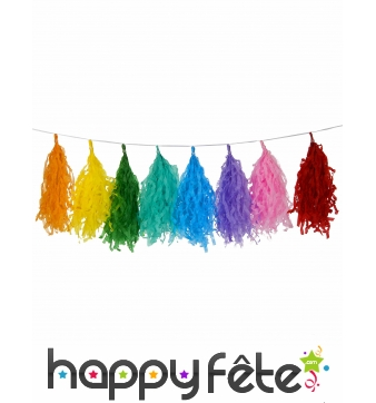 Guirlande de pompons multicolores