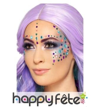 Gemmes de visage multicolores