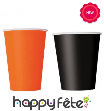 Gobelets en carton orange ou noir, cl