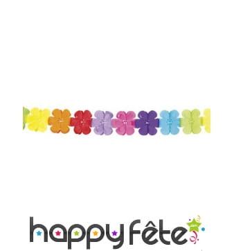 Guirlande fleurs multicolores en papier 4m