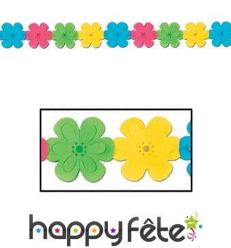 Guirlande fleurs multicolores en papier de 370cm