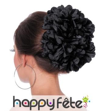 Grosse fleur noire pour cheveux sur barette