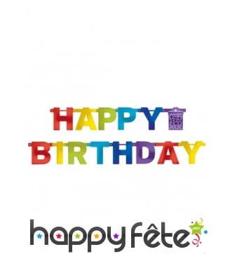 Guirlande Happy Birthday articulée de 2,19m