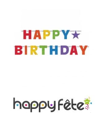 Guirlande Happy Birthday articulée et colorée