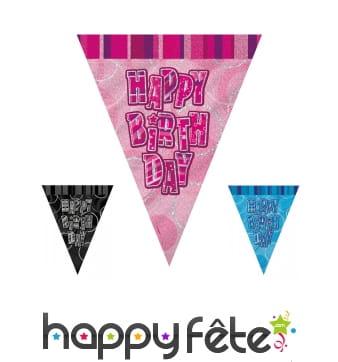 Guirlande Happy Birthday de Fanions, 274cm