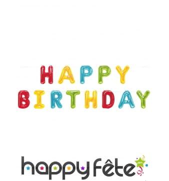 Guirlande Happy Birthday en lettre ballon 274cm