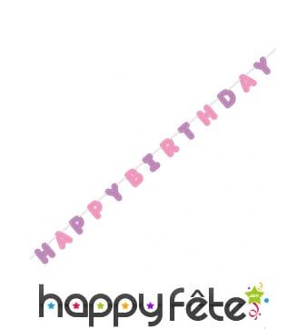 Guirlande Happy Birthday rose et violet de 274cm