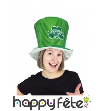 Grand Haut de forme vert happy St Patrick's day
