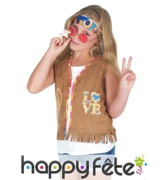 Gilet hippie marron à franges pour enfant