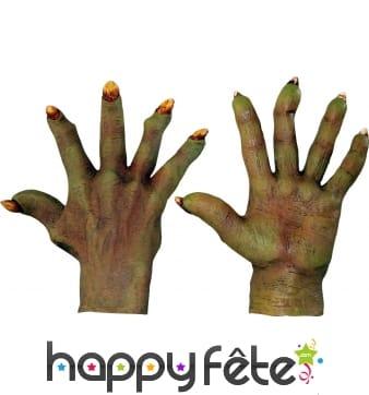 Gants mains de monstre vertes