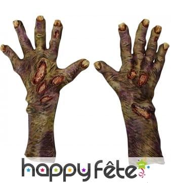 Gants mains de zombie décomposées