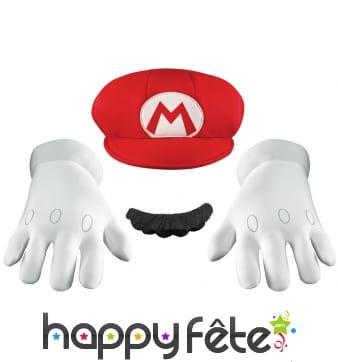 Gants, moustache et casquette de Mario pour adulte