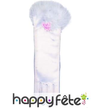 Gants mi-longs blancs avec froufrous pour enfant