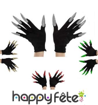 Gants noirs avec longs ongles pailletés