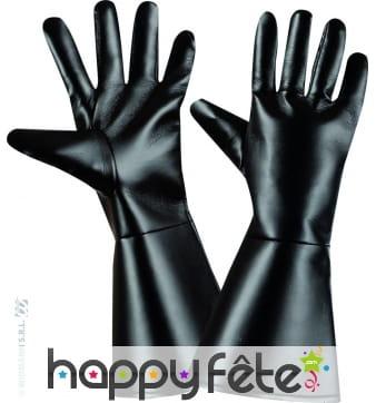 Gants noir en simili cuir pour adultes