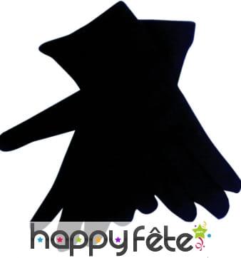 Gants noirs en polyester pour enfant.