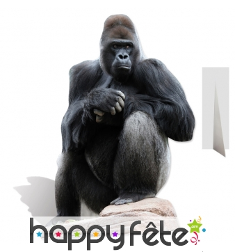 Gorille noir en carton plat taille réelle