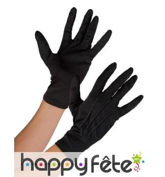 Gants noirs unis en tissu souple pour adulte