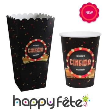 Gobelets ou cornets à popcorn Hollywood