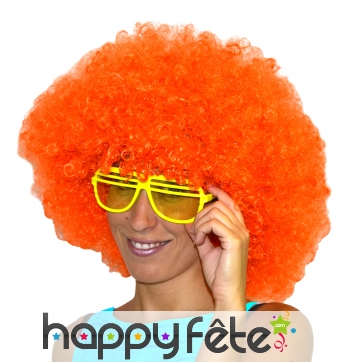 Grosse perruque afro orange
