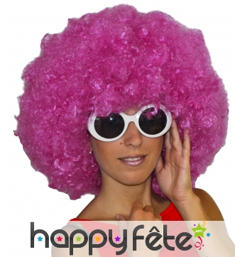 Grosse perruque afro rose