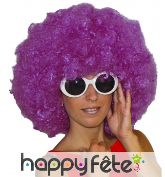 Grosse perruque afro violette