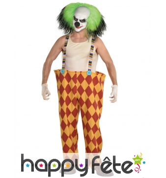 Grand pantalon de clown tueur avec perruque verte