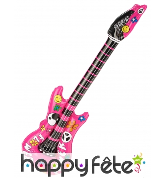 Guitare rock rose gonflable de 105cm