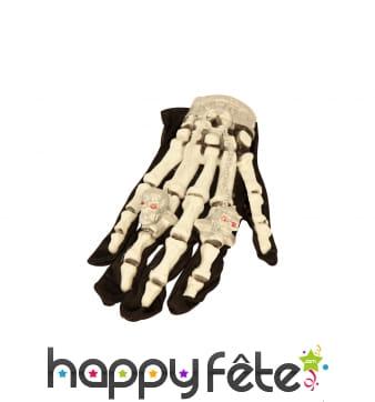 Gants squelette avec bagues lumineuses pour adulte