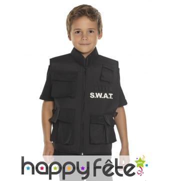 Gilet SWAT noir sans manche pour enfant