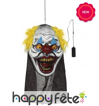 Grande tête de clown de Halloween lumineuse, 95cm