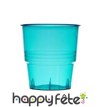 Gobelets turquoises transparents de 25 cl