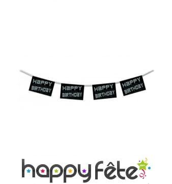 Guirlande vip noir blanc happy birthday de 4,50m