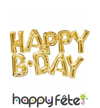 Happy Birthday en ballons dorés de 78 cm