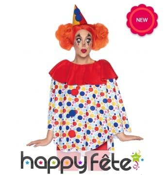 Haut blanc et coloré de clown avec chapeau