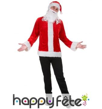 Haut, bonnet et barbe de père Noël