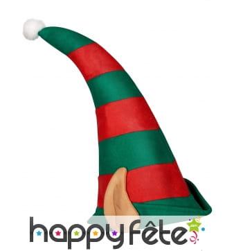 Haut bonnet vert rouge de lutin avec oreilles