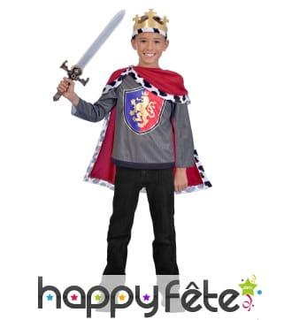 Haut, cape et couronne de roi pour enfant