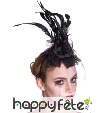 Haute coiffe noire voilet et plumes
