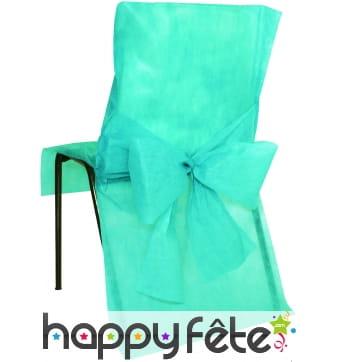 Housses de chaise non tissé noeud turquoise