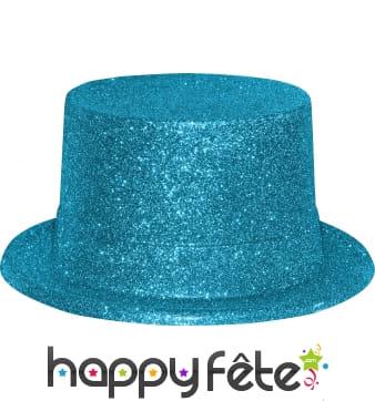 Haut de forme avec paillettes turquoise