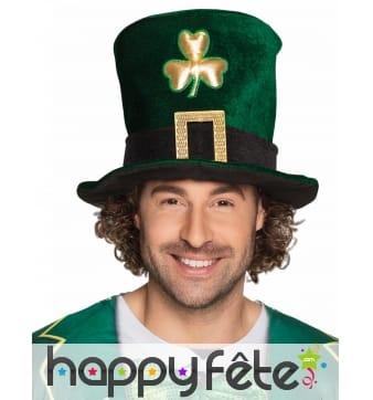 Haut de forme de la Saint Patrick effet velours
