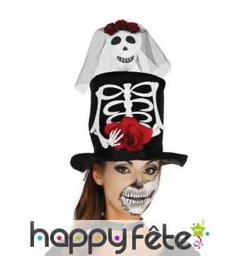 Haut de forme Dia de los Muertos mariée squelette