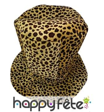 Haut de forme en mousse leopard