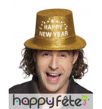 Haut de forme Happy new year doré pailleté, adulte